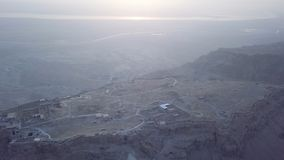 Aerial Masada and dead sea view in the morning royalty free stock photography