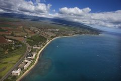 Aerial of Maui coast. Royalty Free Stock Photography