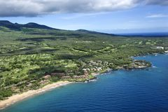 Aerial of Maui coastline. Royalty Free Stock Images