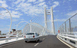 Aerial metallic bridge Royalty Free Stock Image
