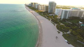 Aerial Miami architecture on the ocean stock video footage