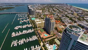 Aerial Miami Beach architecture stock video