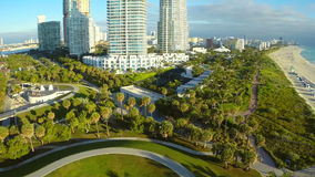 Aerial Miami Beach condominium Continuum stock footage