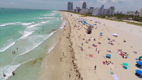 Aerial Miami Beach flyover stock video footage