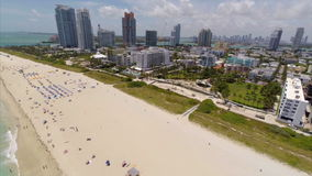 Aerial Miami Beach flyover backwards stock footage
