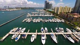 Aerial Miami Beach Marina stock video