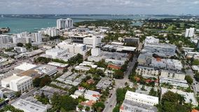 Aerial Miami Beach shot with a phantom 4 pro drone stock video footage