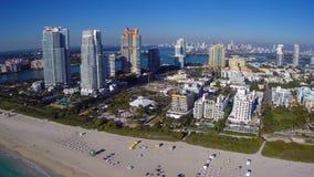 Aerial Miami Beach. Aerial video of Miami Beach and beachfront architecture stock video footage