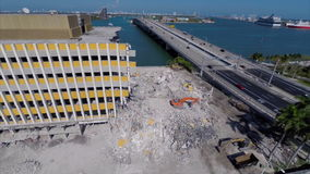 Aerial Miami Herald building being demolished Royalty Free Stock Images