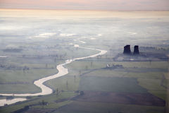 Aerial of misty morning river Royalty Free Stock Photos