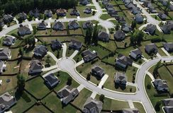 Modern Suburbs Aerial. Aerial of modern suburban housing in the eastern United States Royalty Free Stock Image