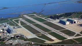 Aerial of Moffet Field Airport. Aerial Moffet Field Airport with the Bay in the background Royalty Free Stock Photography