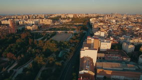 Aerial morning flight above the Moscow district, Russia stock footage