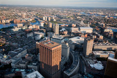 AERIAL morning view of downtown Boston stock photos