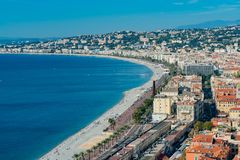 Aerial morning view of the famous Angel's Bay with downtown cityscape from Castle Hill, Nice. At France stock images