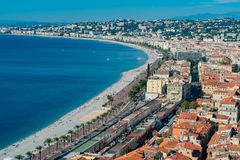 Aerial morning view of the famous Angel's Bay with downtown cityscape from Castle Hill, Nice. At France royalty free stock photography