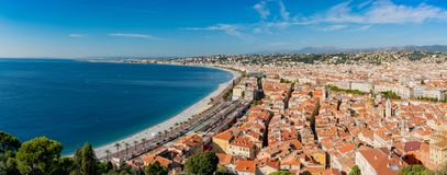 Aerial morning view of the famous Angel's Bay with downtown cityscape from Castle Hill, Nice. At France royalty free stock image
