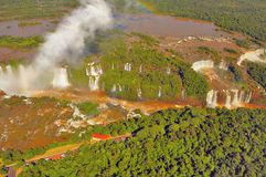 Aerial morning view of Iguazu falls. Stock Photography