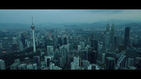 Aerial of morning view at Kuala Lumpur skyline stock footage