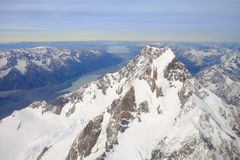 Aerial morning view of Mount Cook, New Zealand Stock Photography
