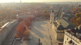 Aerial morning view of Vilnius Cathedral Square stock footage