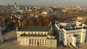 Aerial morning view of Vilnius Cathedral Square stock video