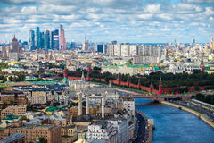 Aerial Moscow city center panorama Royalty Free Stock Photos