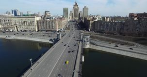Aerial Moscow City Cityscape Cars River Bridge stock video