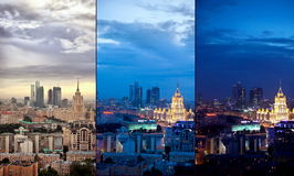 Aerial Moscow city collage royalty free stock image