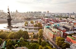 Aerial Moscow city panorama. Including the the Great ship, Christ cathedral and others landmarks Royalty Free Stock Image