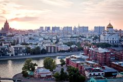 Aerial Moscow City panorama Royalty Free Stock Photos