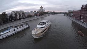 Aerial of moscow river navigation. Boat. Cathedral of Christ the Saviour. stock video footage