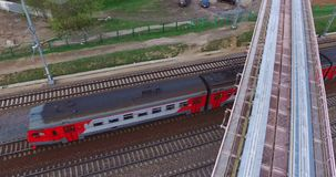 Aerial Moscow Trains Monorail In Motion. Moscow City aerial shooting cityscapes application plan shot with the dji inspire one stock footage