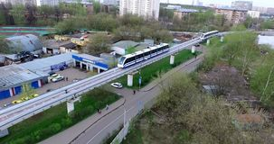 Aerial Moscow Trains Monorail In Motion. Moscow City aerial shooting cityscapes application plan shot with the dji inspire one stock video