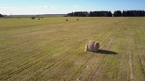 Aerial motion over field with packaged straw rolls by road stock video footage