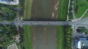 Aerial Motion Timelapse Time-Lapse of Bridge and Transport ower the River, Uzhgorord, Ukraine stock video