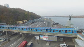 Aerial motion train metro rail in Kiev stock video footage