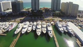 Aerial motion video of yachts at the Miami Boat Show Stock Photography