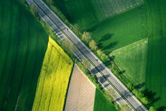 Aerial motorway in green Royalty Free Stock Photos
