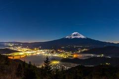 Aerial Mount Fuji night Royalty Free Stock Photo