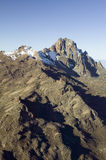 Aerial of Mount Kenya, Africa and snow in January, the second highest mountain at 17,058 feet or 5199 Meters Royalty Free Stock Image