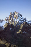Aerial of Mount Kenya, Africa and snow in January, the second highest mountain at 17,058 feet or 5199 Meters Stock Photo