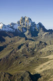 Aerial of Mount Kenya, Africa and snow in January, the second highest mountain at 17,058 feet or 5199 Meters Royalty Free Stock Images
