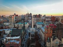 Aerial of Mount Vernon Place in Baltimore, Maryland looking at t royalty free stock images