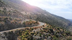 Aerial. Mountain asphalt road. View above.  stock photo