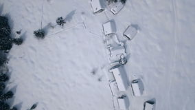 Aerial mountain settlement in winter (Zajamniki Mountain) stock video footage