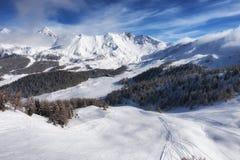Aerial mountain view of Pila ski resort in winter, Aosta, Italy Stock Photos