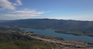 Aerial of mountains and lake of crystal springs reservoir in san mateo, california