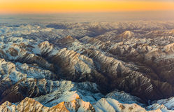 Aerial of the mountains in Tashkent, china and Kirgistan, covere Royalty Free Stock Photos