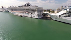 Aerial MSC Cruise Ship at Port of Miami stock video footage
